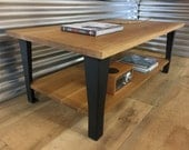 QUICK SHIP-Contemporary/urban loft style coffee table, quartersawn white oak with steel legs.