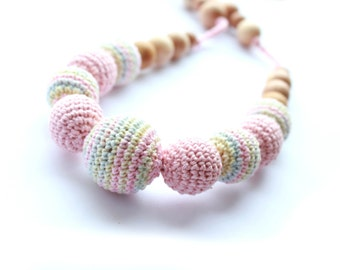 Pastel Pink Breastfeeding Necklace - Crochet Necklace for mom and child - Nursing /Teething necklace - Under 25