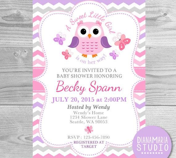 Bebé ducha invitación búho púrpura rosado bebé niña invitar-A