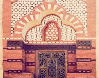 Egypt photograph, fine art, travel photography, orange, Middle East, Arabian, square photo - Egyptian Window