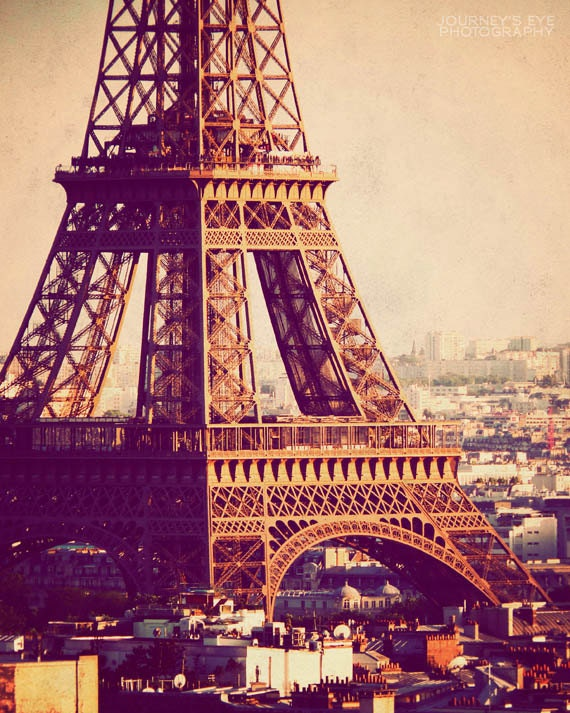 Eiffel Tower at Sunset - Paris photograph, vintage photo, Paris print, travel photography, Paris art