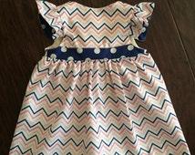 Chevron party dress, easter dress, baby easter dress, girls easter dress, flutter sleeves, chevron, polka dot, toddler girls dress