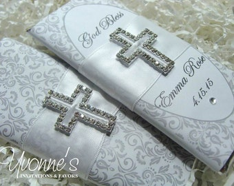 Communion Candy Bar Wrapper- Chocolate Bar Favors - Bling White/Silver for Christening/Baptism/Communion/Religious Event