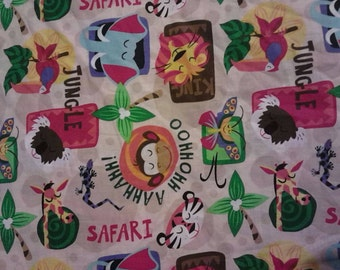 1 yard of Safari animals alphabet fabric