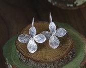 Hydrangea blossom Earrings in Sterling Silver, Silver Flower  on handmade Sterling Ear Wires
