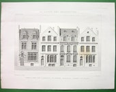 FRANCE Victorian Houses on Rue d'Offemont Facades by Architect Flamant - 2 (Two) 1878 Architecture Original Antique Prints