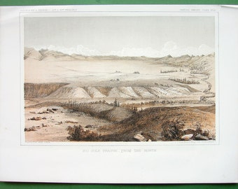 MONTANA Big Hole Prairie, from the North Amercian West - 1855 Original Tinted Litho Antique Print