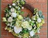 St Patricks Green and White Rose Garden Wreath, Summer, Spring, large, Cottage, hydrangea, tulip, Dogwood, shamrock, clover