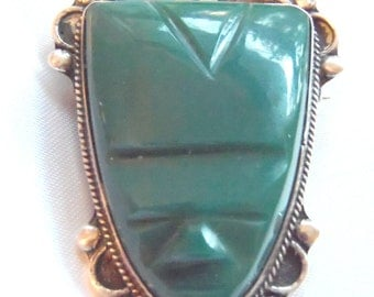 Large Kelly Green Shield Brooch Pin Sterling Silver