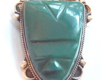 Large Kelly Green Shield Brooch Pin Sterling Silver