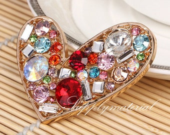 1PCS Colorful Crystal Gem Heart-shaped Flatback Alloy jewelry Accessories materials supplies