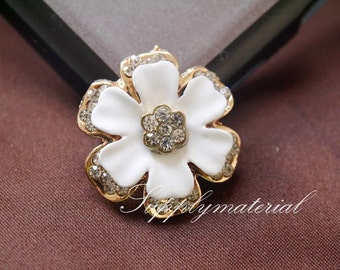 2pcs Golden Crystal Flowers Flatback Alloy jewelry accessories materials supplies
