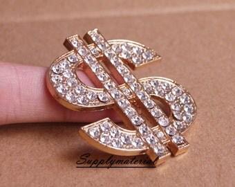 1PCS Golden Crystal Dollar sign Flatback Alloy jewelry Accessories materials supplies