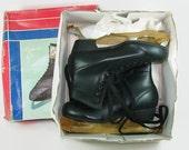 Unused Vintage Ice Skates, Figure 8's Men's Size 6 Black Skates, NOS New Old Stock Skates