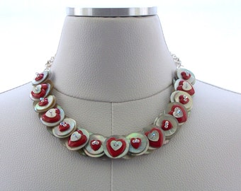Button Necklace, Mother of Pearl Necklace, Valentine, Red Necklace, Pearl Jewelry, Silver Necklace, Chain, Swarovski Crystal Necklace