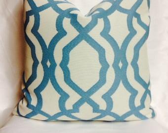 Bella Dura Pride Pool Pillow Cover 18 x 18 Indoor Outdoor Aqua White Trellis Fabric