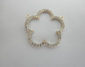CZ gold vermeil open flower pendant