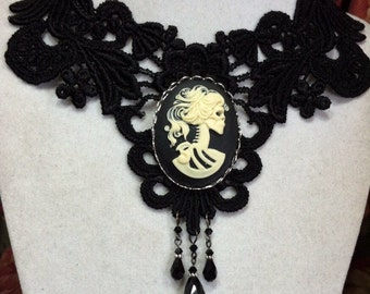 Black Lace Choker Necklace with Lolita Skull Goddess Cameo