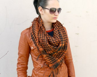 Plaid Scarf / Orange Cotton Scarf / Square Scarf  / Fashion Scarf / Cotton Unisex Square / Gift For Girlfriend / Gift for Her