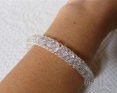 Bridal bracelet / Wedding bracelet/ Adjustable sIlver crystal bracelet /Handmade  bangle bracelet Wire crochet bangle / Mesh bracelet