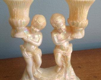 kitsch cherub candelabra plastic cherub candle holder, shabby chic candle holder