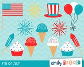 80% OFF SALE 4th Of July Fireworks American Ice Cream Cute Clip Art, Instant Download, Commercial Use