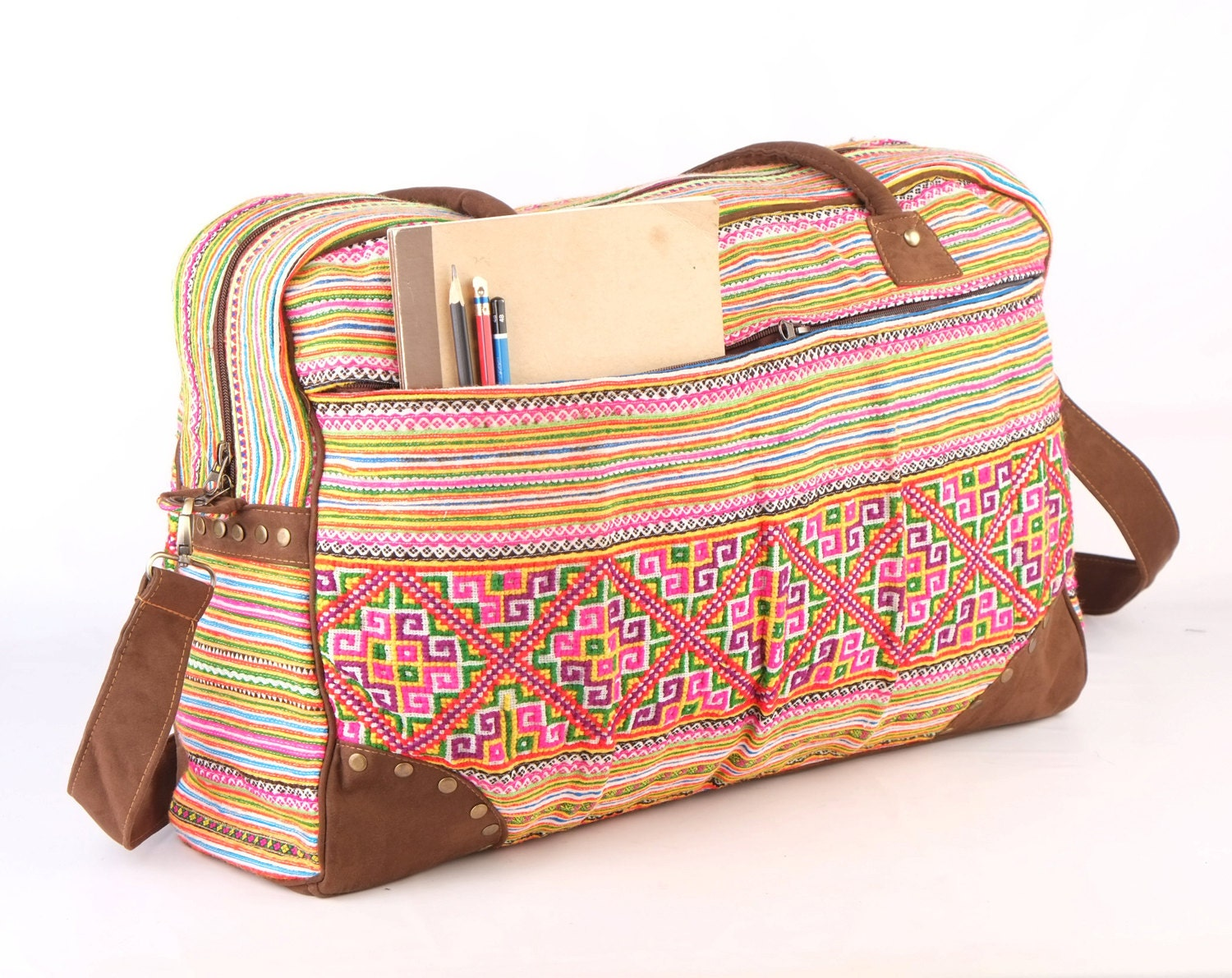 Large overnight weekender travel bag ethnic embroidered