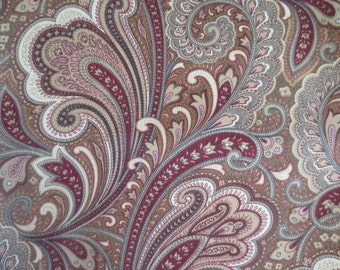 OUTDOOR Pillow Cover Cranberry Red and Gold Paisley Print