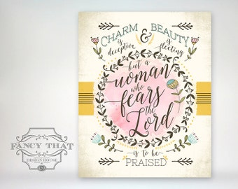 "8x10 art print - Proverbs 31 - Typography - Scripture Bible Verse / Mother's Day gift ""A woman who fears the Lord is to be praised"""