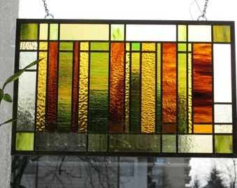 Browns and Greens Modern Stained Glass