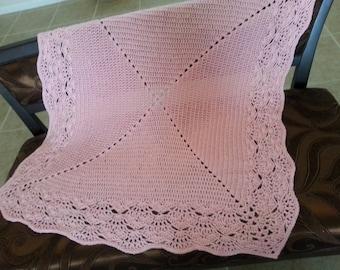 Crochet pink detailed edging baby girl blanket