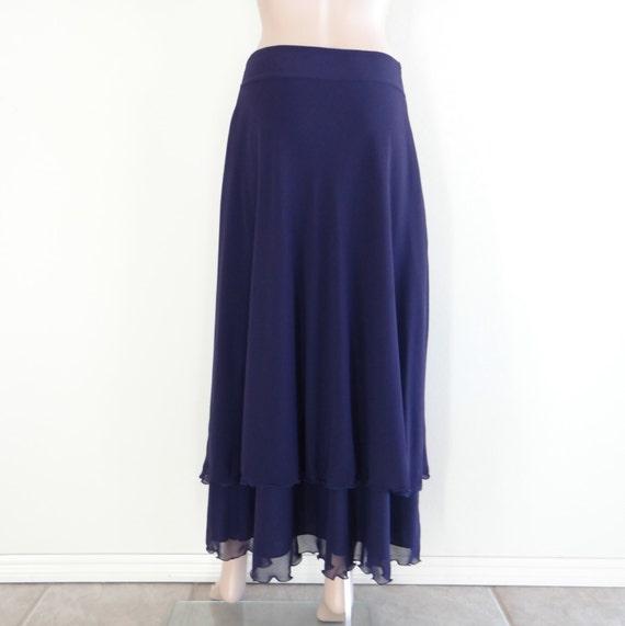 Navy Blue Maxi Skirt. Chiffon Floor Length Skirt. Navy Blue