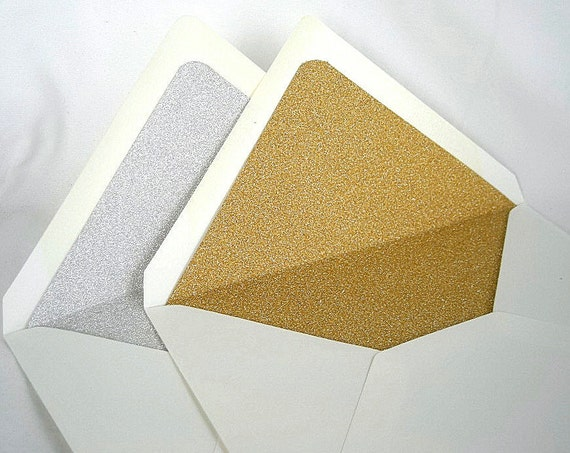 Gold Silver Glitter Lined Envelopes Liner by AllThingsAngelas