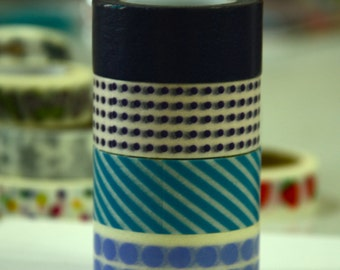 4 Rolls of Japanese Washi Masking Paper Tape- BLUE COLLECTION