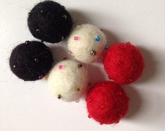 6 pcs Needle Felted Beaded Felt Balls (Black, Red, White Collection)