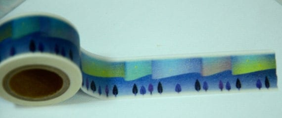 1 Roll Japanese Tsutsumu Washi Masking Paper Tape (25mm x 10m) - Aurora / Northern Light