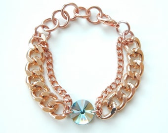 Rose Gold Bracelet Swarovski Crystal turquoise statement bracelet statement jewelry silver chain FANCY