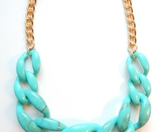 Turquoise Statement Necklace chunky necklace statement jewelry chain link COPACABANA