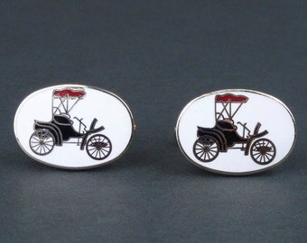 Enamel Antique Car Cufflinks Vintage