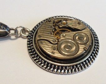 Steampunk Necklace, Stately New York Standard Pin Striped Timepiece, Seven Jewels, 38mm Pendant