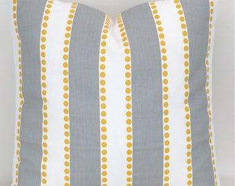 Stripe Floor Pillow -up to 28x28 inch- Big Decorative Cushion, Euro Sham, Floor Pillow, Gray Yellow White Decor, Lulu Storm Premier Prints
