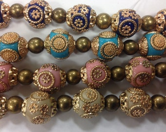 15mm round handmade tibetan resin beads with meatl flower and accents, 15 beads