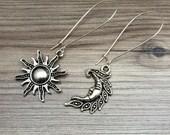 Sun and Moon Charm Dangle Earrings; sun jewelry, sun and moon jewelry, bohemian earrings, hippie, dangle sun and moon, gifts for friendship