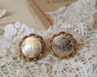 Scroll Initial Etched Cuff Links Braided Rope Edge