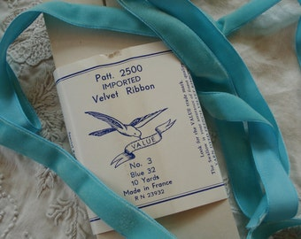 "1y Vintage French 5/8"" Shabby Blue Silky Rayon Velvet Millinery Ribbon Trim Ladies Hat Victorian French Flapper Dress Wedding Bride Shabbby"
