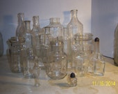 1890-1950's Lot of 17 Clear food sauce medicine other Type Bottles 1 1/2 to 9 1/8 inches tall