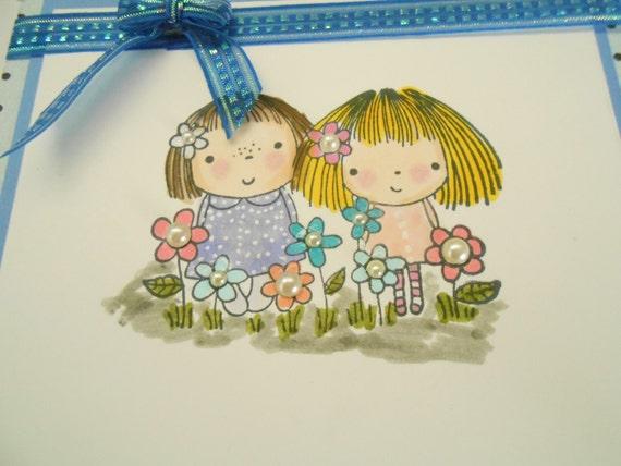 "4 Card Set - Whimsical and Fun - Handmade - 5 -1/2"" x 5"" Cards - Blank Inside"