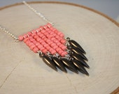 Coral Modern Chevron Necklace with Gunmetal Spikes