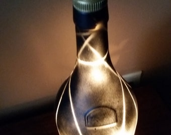Deco black lighted bottle lamp