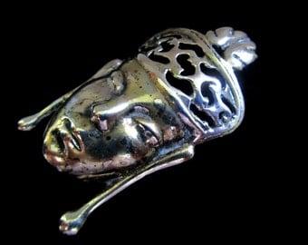 Make an Offer or Layaway! Sterling Silver Heavy Oriental Face Brooch 100151